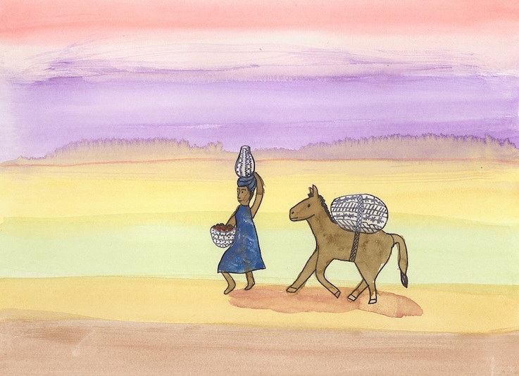 Woman and Donkey in the Desert